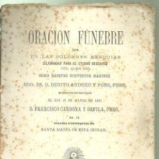 Libros antiguos: 4070.- MAÓ-ORACION FUNEBRE POR EL COMPOSITOR MAHONES BENITO ANDREU Y PONS-MAHON 1881. Lote 221759843