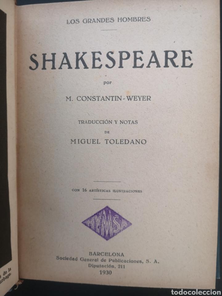 LOS GRANDES HOMBRES. SHAKESPEARE. CONSTANTIN - WEYER. MIGUEL TOLEDANO. HYMSA, 1930. (Libros Antiguos, Raros y Curiosos - Biografías )