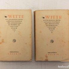 """Libros antiguos: """"WITTE: SUS MEMORIAS. REVELACIONES POLÍTICAS DEL IMPERIO RUSO"""" DE M. DOMENGE (1921). Lote 245627745"""