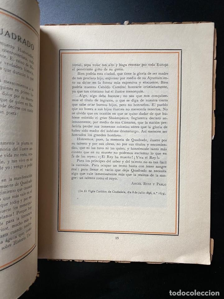 Libros antiguos: CENTENARIO DE D. JOSE Mª CUADRADO 1819-1919. CIUDADELA DE MENORCA. VER FOTOS - Foto 3 - 268034594
