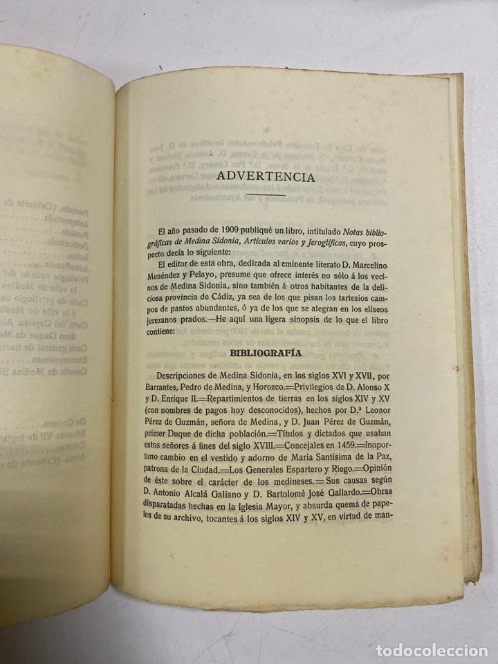 Libros antiguos: AÑADIDURA A NOTAS BIBLIOGRAFICAS DE MEDINA SIDONIA. DOCTOR THEBUSSEM. MADRID, 1910. PAGS: 69 - Foto 5 - 269356318