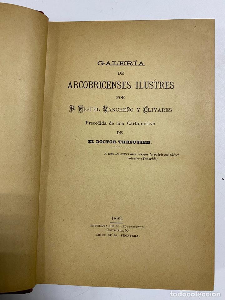 Libros antiguos: GALERIA DE ARCOBRICENSES ILUSTRES. MIGUEL MANCHEÑO Y OLIVARES. ARCOS DE LA FRA., 1892. PAGS: 592 - Foto 5 - 269358908