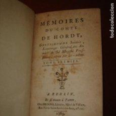 Livres anciens: AÑO 1789.MÉMOIRES DU COMTE DE HORDT.GENERAL DE SU MAJESTAD PRUSIANA. 2 TOMOS EN 1 VOL. COMPLETA.. Lote 275219668