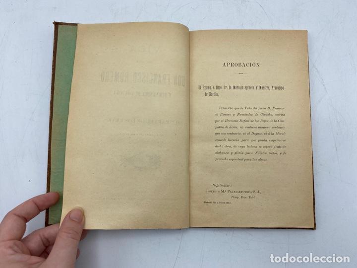 Libros antiguos: VIDA DEL JOVEN FRANCISCO ROMERO Y FERNANDEZ DE CORDOBA. HNO. RAFAEL DE LOS REYES. JEREZ, 1905 - Foto 4 - 276254298