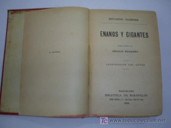 Libros antiguos: Enanos y Gigantes EDUARDO GARNIER Biblioteca de Maravillas Año 1886 RM41166-V - Foto 4 - 26714635