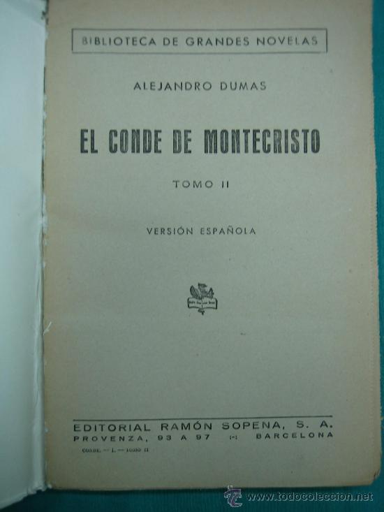 Libros antiguos: El Conde de Montecristo - Foto 7 - 30198002