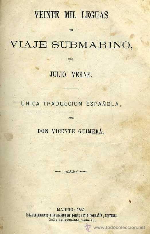 JULIO VERNE : 20.000 LEGUAS DE VIAJE SUBMARINO (TOMÁS REY, 1869) PRIMERA EDICIÓN (Libros antiguos (hasta 1936), raros y curiosos - Literatura - Narrativa - Ciencia Ficción y Fantasía)