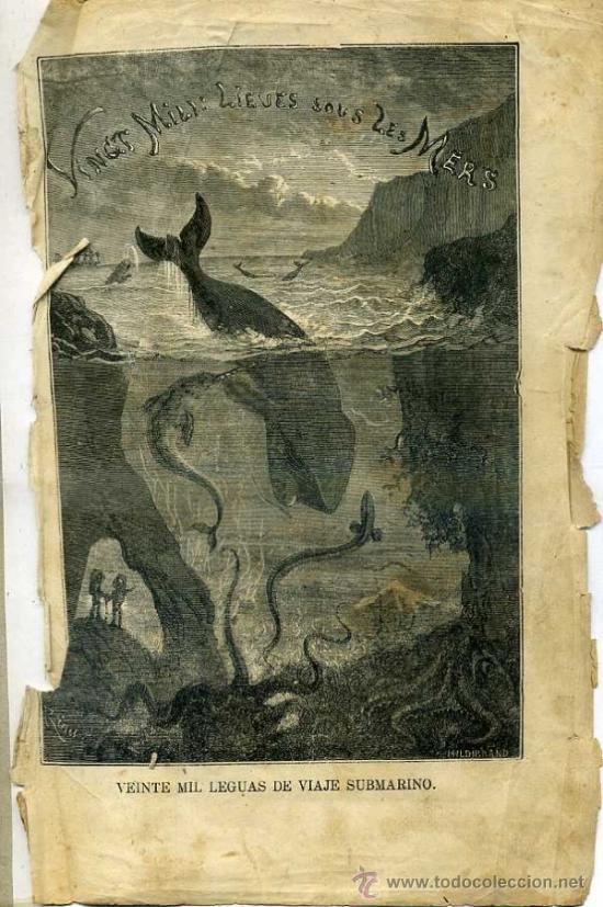 Libros antiguos: JULIO VERNE : 20.000 LEGUAS DE VIAJE SUBMARINO (TOMÁS REY, 1869) PRIMERA EDICIÓN - Foto 6 - 38805822