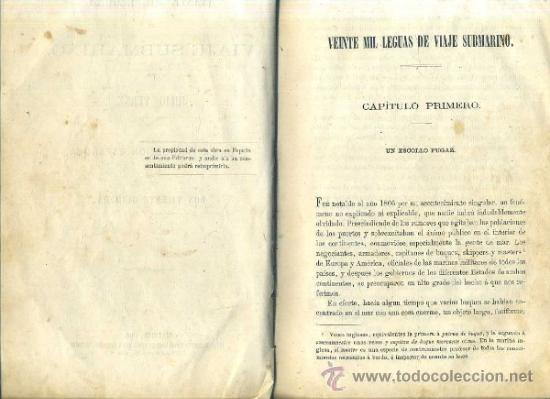 Libros antiguos: JULIO VERNE : 20.000 LEGUAS DE VIAJE SUBMARINO (TOMÁS REY, 1869) PRIMERA EDICIÓN - Foto 5 - 38805822