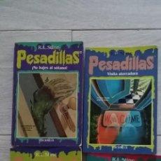 Libros antiguos: LOTE DE PESADILLAS DE RL STINE - HORROR VISITA ATERRADORA NO BAJES AL SÓTANO. Lote 47186332