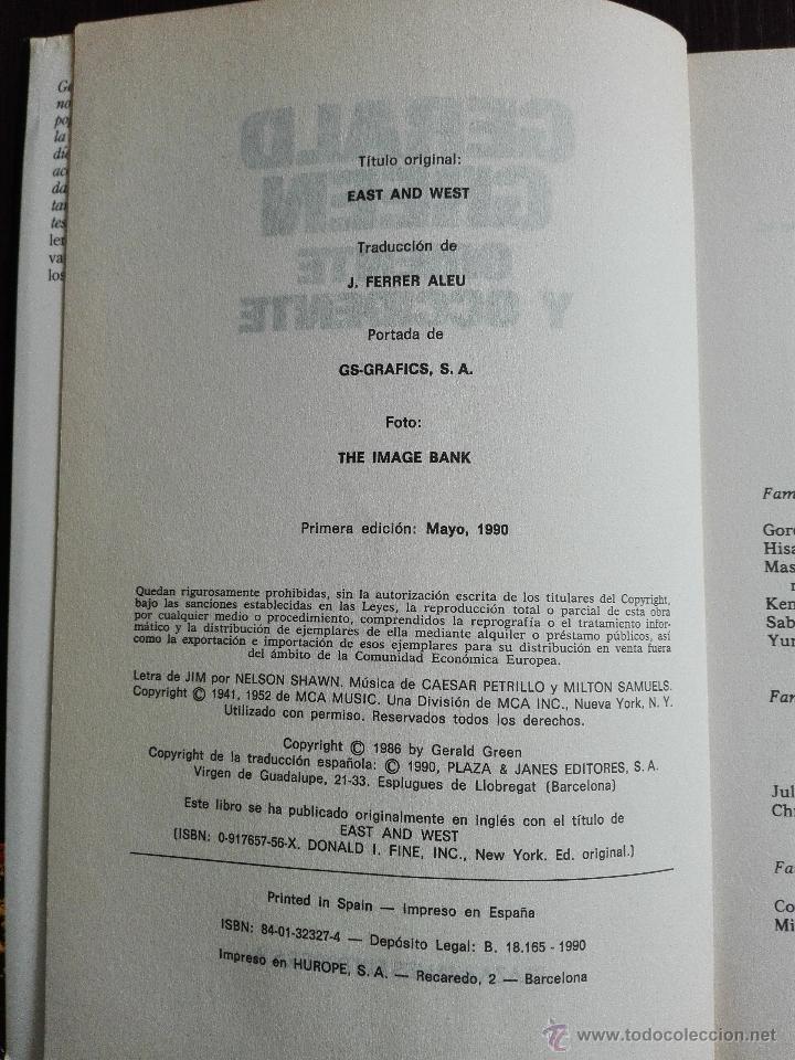 Libros antiguos: ORIENTE Y OCCIDENTE - GERALD GREEN - PLAZA & JANES - BARCELONA - 1990 - - Foto 3 - 51036118
