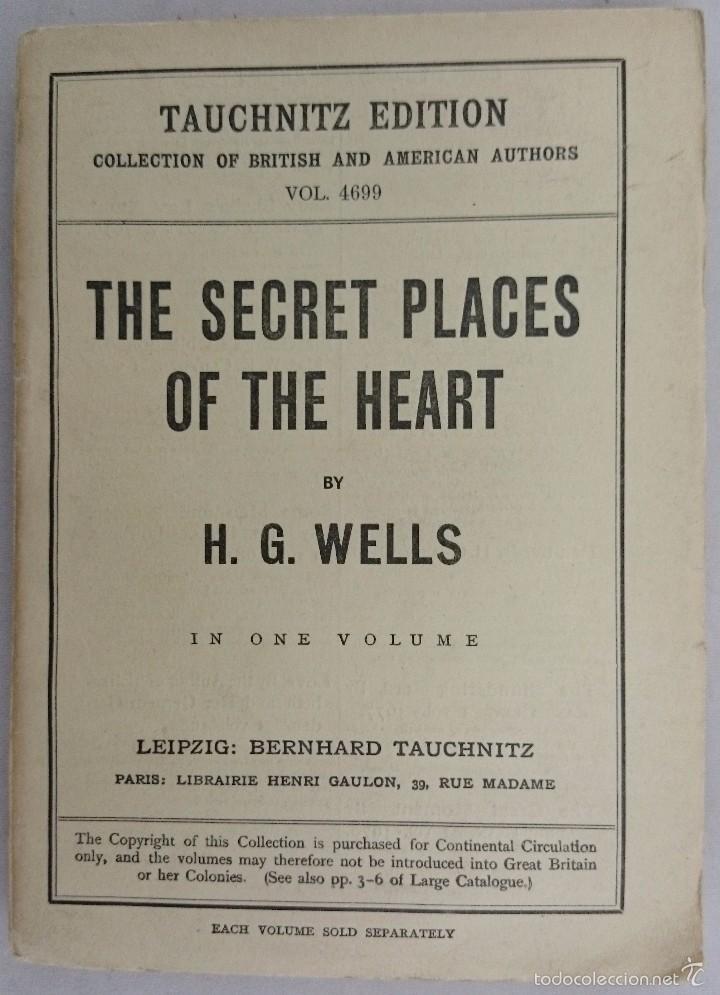 H. G. WELLS. THE SECRET PLACES OF THE HEART. LEIPZIG 1925 (Libros antiguos (hasta 1936), raros y curiosos - Literatura - Narrativa - Ciencia Ficción y Fantasía)