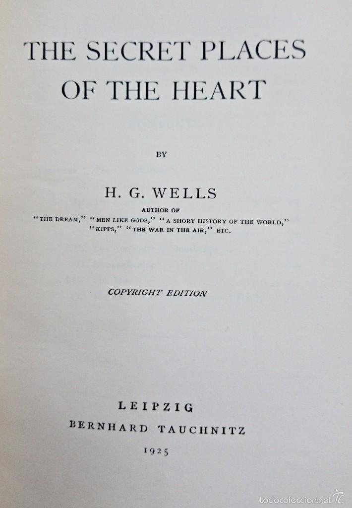 Libros antiguos: H. G. WELLS. THE SECRET PLACES OF THE HEART. LEIPZIG 1925 - Foto 2 - 57838167