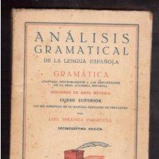 Libros antiguos: ANALISIS GRAMATICAL DE LA LENGA ESPAÑOLA . Lote 59722231