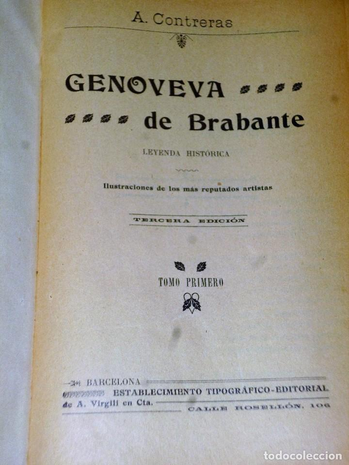 Libros antiguos: GENOVEVA DE BRABANTE. LEYENDA HISTÓRICA. 2 tomos - Foto 2 - 86491760