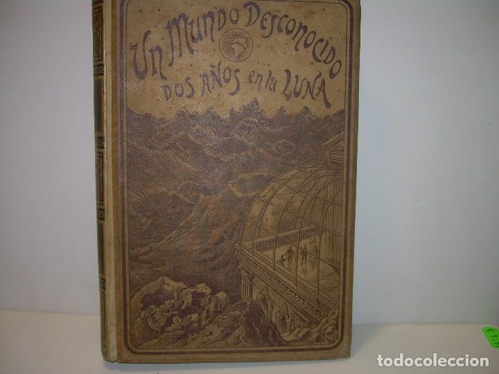 UN MUNDO DESCONOCIDO. DOS AÑOS EN LA LUNA....SIGLO XIX. (Libros antiguos (hasta 1936), raros y curiosos - Literatura - Narrativa - Ciencia Ficción y Fantasía)