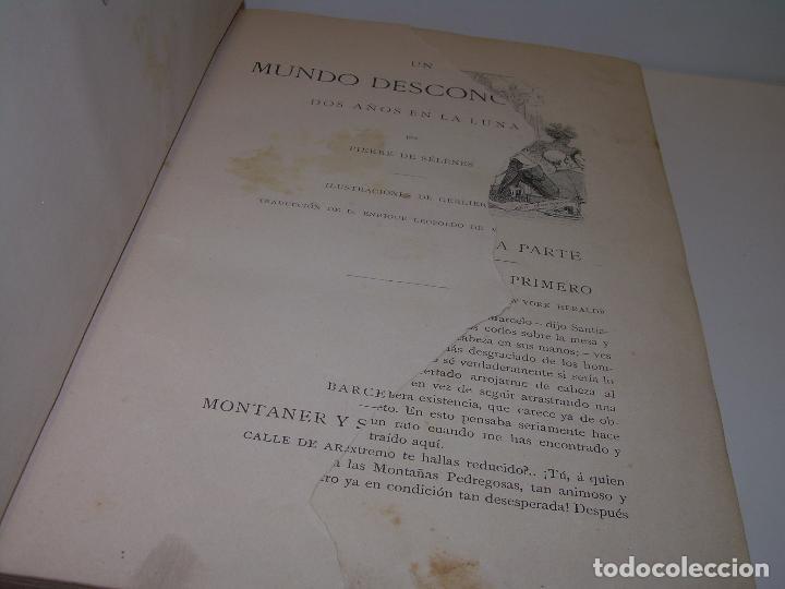 Libros antiguos: UN MUNDO DESCONOCIDO. DOS AÑOS EN LA LUNA....SIGLO XIX. - Foto 2 - 97133107