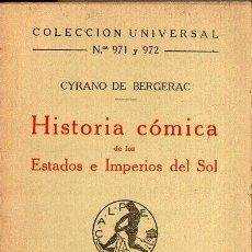 Libros antiguos: CYRANO DE BERGERAC : HISTORIA CÓMICA DE LOS ESTADOS E IMPERIOS DEL SOL (CALPE, 1924). Lote 98738619