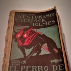 Libros antiguos: ARTHUR CONAN DOYLE, AVENTURAS DE SHERLOCK HOLMES, EL PERRO DE BASKERVILLE,DIBUJO PORTADA PENAGOS. Lote 114032991