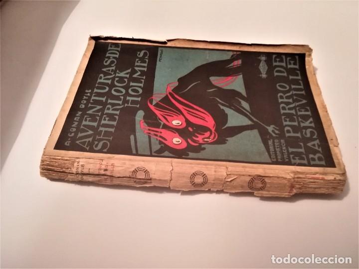 Libros antiguos: ARTHUR CONAN DOYLE, AVENTURAS DE SHERLOCK HOLMES, EL PERRO DE BASKERVILLE,DIBUJO PORTADA PENAGOS - Foto 2 - 114032991