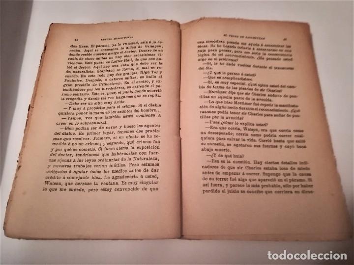 Libros antiguos: ARTHUR CONAN DOYLE, AVENTURAS DE SHERLOCK HOLMES, EL PERRO DE BASKERVILLE,DIBUJO PORTADA PENAGOS - Foto 3 - 114032991