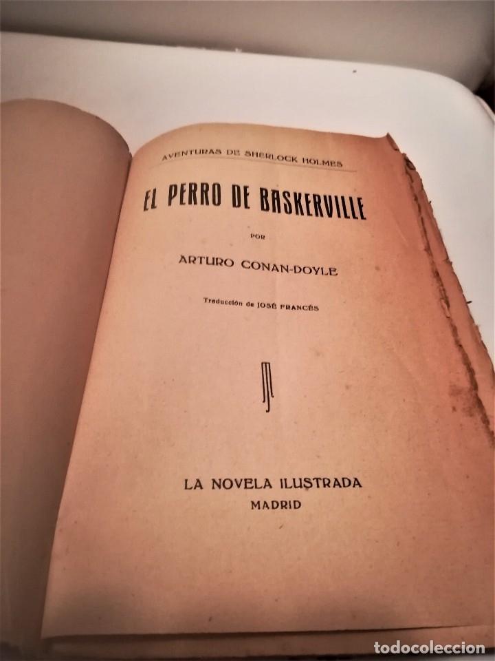 Libros antiguos: ARTHUR CONAN DOYLE, AVENTURAS DE SHERLOCK HOLMES, EL PERRO DE BASKERVILLE,DIBUJO PORTADA PENAGOS - Foto 4 - 114032991