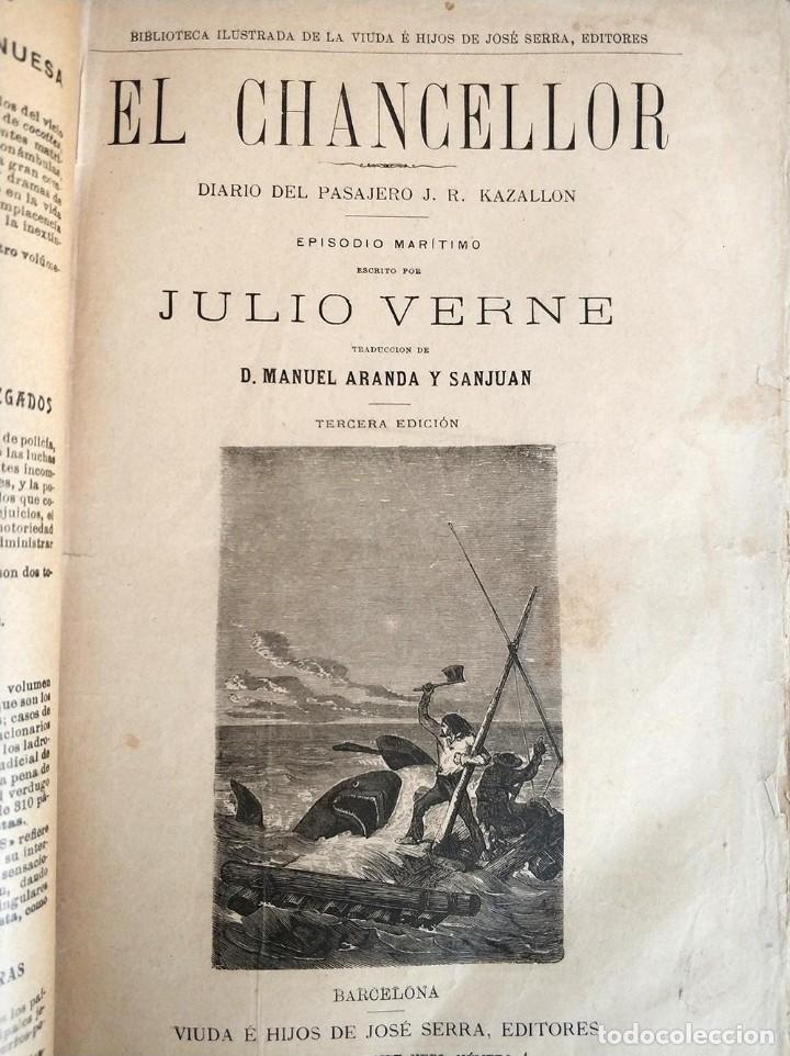 Libros antiguos: tomo con 5 novelas julio verne Veinte mil leguas de viaje submarino 1878 1879 ver mas en descripcion - Foto 7 - 125279427