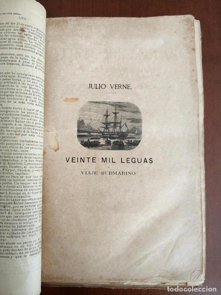 Libros antiguos: tomo con 5 novelas julio verne Veinte mil leguas de viaje submarino 1878 1879 ver mas en descripcion - Foto 8 - 125279427
