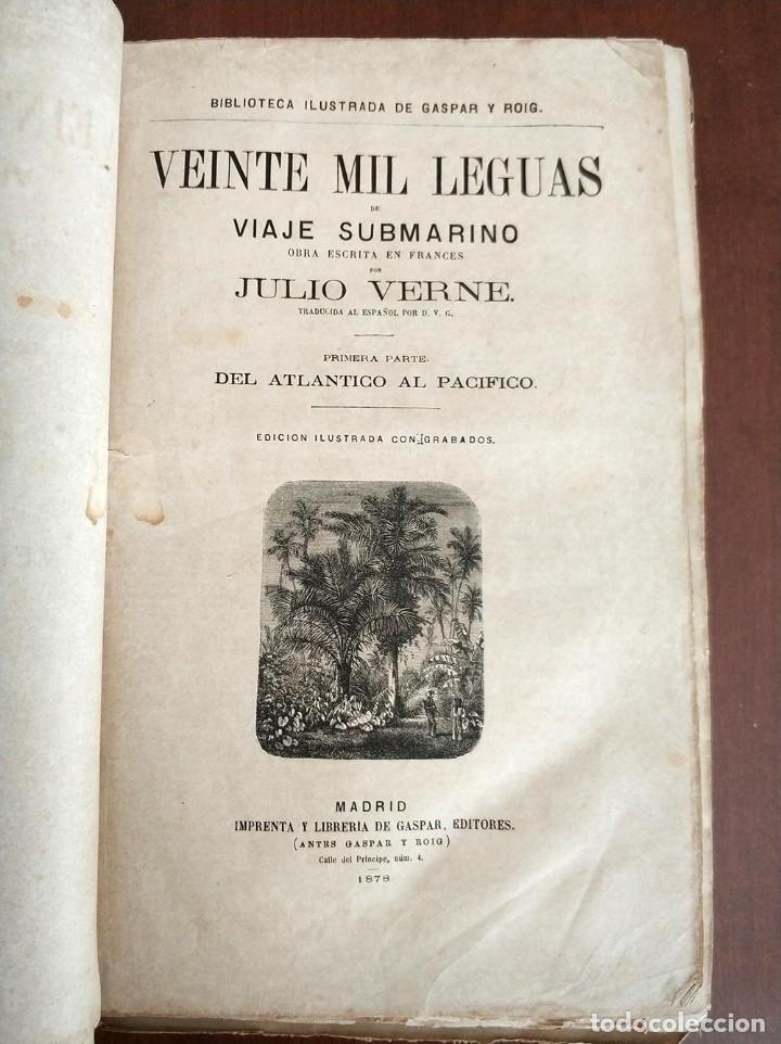 TOMO CON 5 NOVELAS JULIO VERNE VEINTE MIL LEGUAS DE VIAJE SUBMARINO 1878 1879 VER MAS EN DESCRIPCION (Libros antiguos (hasta 1936), raros y curiosos - Literatura - Narrativa - Ciencia Ficción y Fantasía)