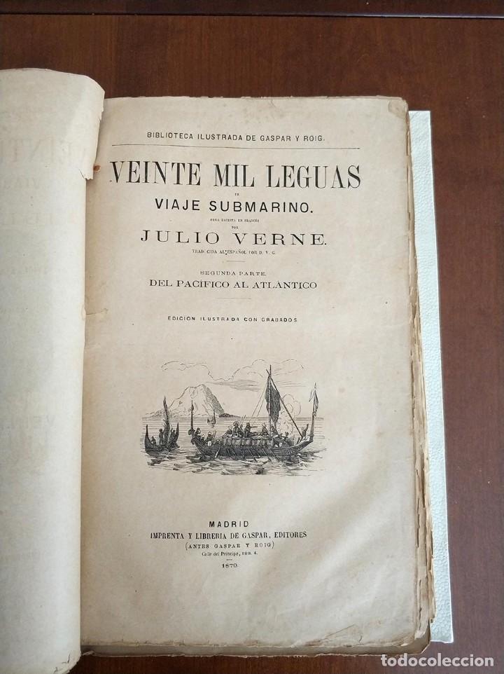 Libros antiguos: tomo con 5 novelas julio verne Veinte mil leguas de viaje submarino 1878 1879 ver mas en descripcion - Foto 13 - 125279427