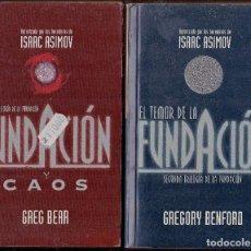 Libros antiguos: CIENCIA FICCION EL TEMOR DE LA FUNDACION Y CAOS ISAAC ASIMOV GREGORY BENFORD. Lote 126069015