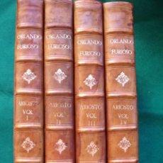 Libros antiguos: ORLANDO FURIOSO. LUDOVICO ARIOSTO BIRMINGHAN BASKERVILLE 1773.4 TOMOS.GRABADOS. Lote 130953928