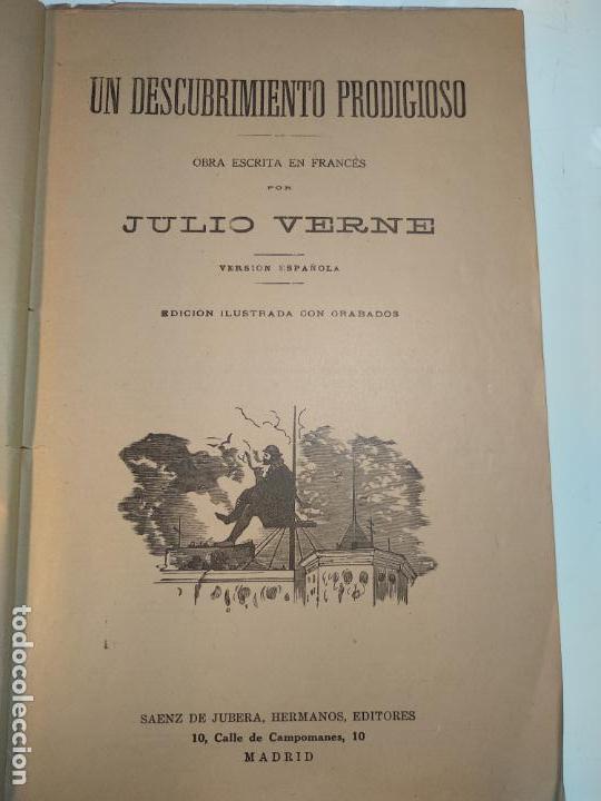 Libros antiguos: UN DESCUBRIMIENTO ASOMBROSO - JULIO VERNE - EDIC. ILUSTRADA CON GRABADOS - MADRID - - Foto 3 - 136763678
