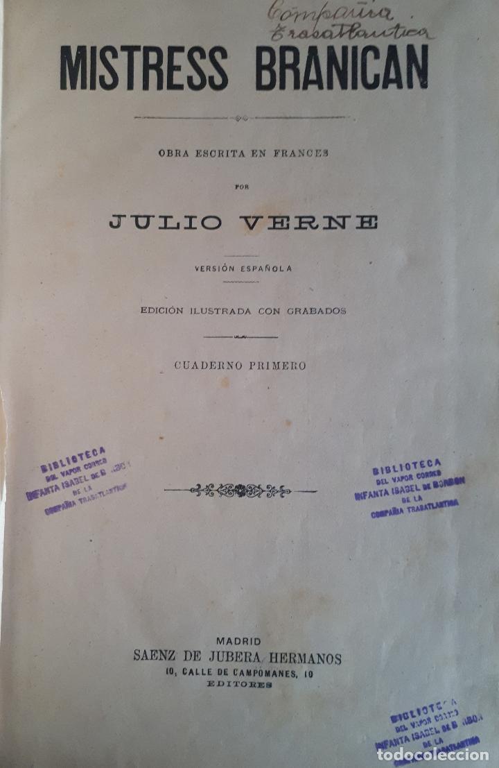 Libros antiguos: BIBLIOTECA DEL VAPOR CORREO INFANTA ISABEL DE BORBÓN 2 OBRAS DE JULIO VERNE - Foto 7 - 157966730