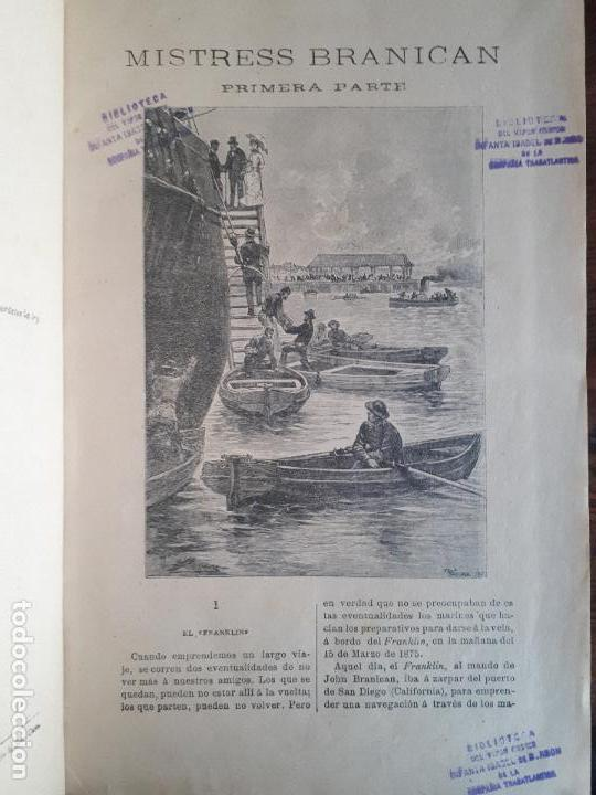 Libros antiguos: BIBLIOTECA DEL VAPOR CORREO INFANTA ISABEL DE BORBÓN 2 OBRAS DE JULIO VERNE - Foto 10 - 157966730