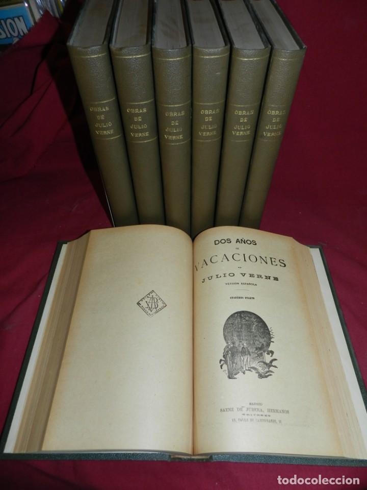 (M4.11) OBRAS DE JULIO VERNE - 7 VOLUMENES CON DIFERENTES NOVELAS MADRID SAENZ DE JUBERA (Libros antiguos (hasta 1936), raros y curiosos - Literatura - Narrativa - Ciencia Ficción y Fantasía)