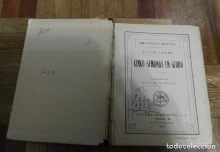 Libros antiguos: Cinco Semanas en Globo Julio Verne Biblioteca Selecta Nº 61 Editorial Ramón Sopena Barcelona 1934 - Foto 4 - 194101263