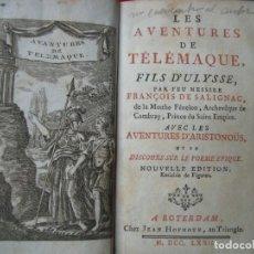 Libros antiguos: FRANCOIS DE SALIGNAC.-LAS AVENTURAS DE TELEMACO.-GRABADOS.-12 GRABADOS AL COBRE.-ROTERDAM.-AÑO 1772.. Lote 196001077