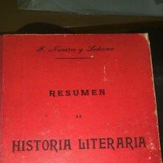 Libros antiguos: RESUMEN DE HISTORIA LITERARIA. NAVARRO Y LEDESMA, F. 1902. Lote 229029440