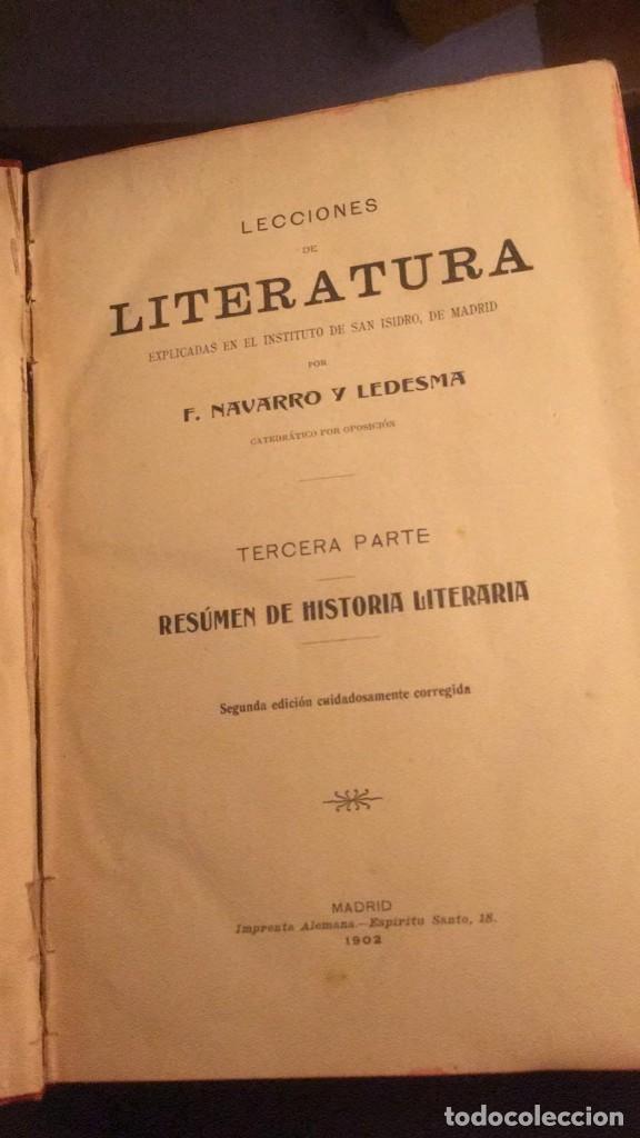 Libros antiguos: RESUMEN DE HISTORIA LITERARIA. NAVARRO Y LEDESMA, F. 1902 - Foto 4 - 229029440