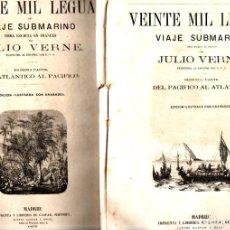 Libros antiguos: JULIO VERNE :VEINTE MIL LEGUAS DE VIAJE SUBMARINO (GASPAR, 1875-76) DOS CUADERNOS. Lote 275939043