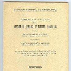 Libros antiguos: LIBRO AGRICULTURA, MEZCLAS DE SEMILLAS DE PLANTAS FORRAJERAS.POR TEODORO DE WEIZIERL.1930.2ª EDICION. Lote 10594099