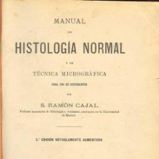 Livres anciens: 1910: CAJAL MANUAL DE HISTOLOGÍA NORMAL Y DE TÉCNICA MICROGRÁFICA. Lote 27448985
