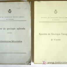 Libros antiguos: APUNTES DE GEOLOGIA APLICADA (YACIMIENTOS MINERALES) Y APUNTES DE GEOLOGIA FISIOGRAFICA (2º CURSO). Lote 18400823