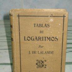 Libros antiguos: TABLAS DE LOGARITMOS DE J. DE LALANDE. 1924. Lote 21903586