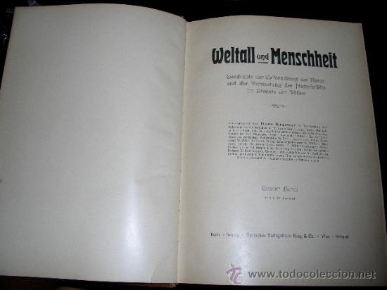 Libros antiguos: WELTALL UND MENSCHHEIT dedicado a la geología y volcanes. Enc. modernista - Foto 7 - 27445822