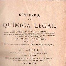 Libros antiguos: COMPENDIO DE QUIMICA LEGAL POR A.NAQUET Y TRADUCIDA POR VICENTE MARTIN DE ARGENTA 1873. Lote 25378585