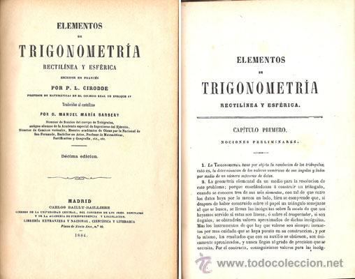 Libros antiguos: ELEMENTOS DE TRIGONOMETRÍA – Año 1884 - Foto 2 - 27494731