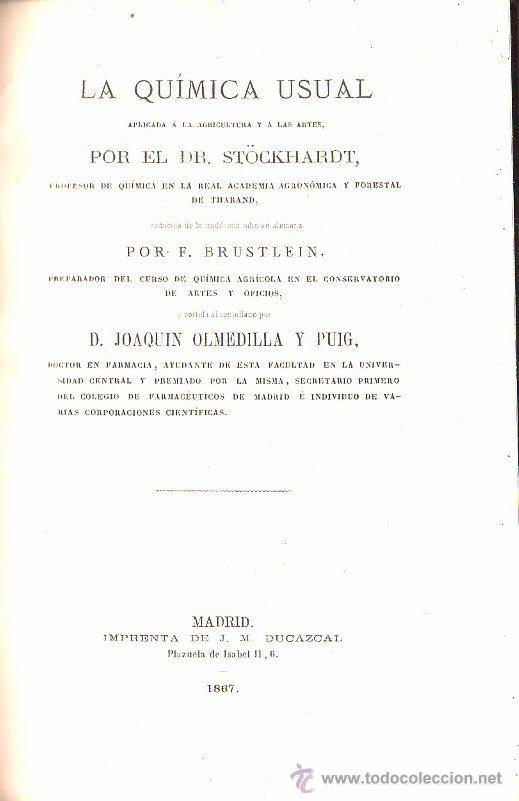 1867,QUÍMICA USUAL APLICADA A LA AGRICULTURA Y A LAS ARTES,MADRID,GRABADOS,INTERESANTE (Libros Antiguos, Raros y Curiosos - Ciencias, Manuales y Oficios - Física, Química y Matemáticas)