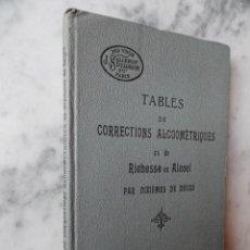 Libros antiguos: TABLES ET CORRECTIONS ALCOOMÉTRIQUES OU DE RICHESSE EN ALCOOL PAR DIXIÈMES DE DEGRÉ. TEXTO FRANCÉS. Lote 28306061